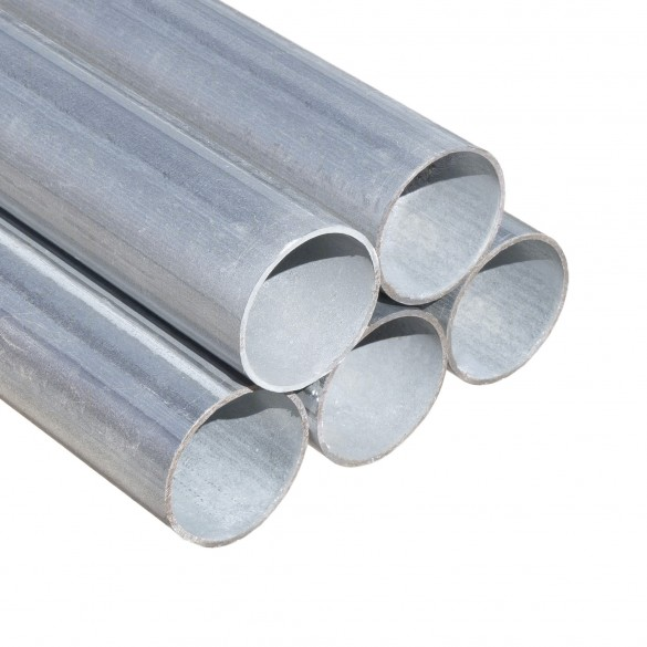 """4' Long x 1 3/8"""" Round Galvanized Steel Fence Residential Tubing"""