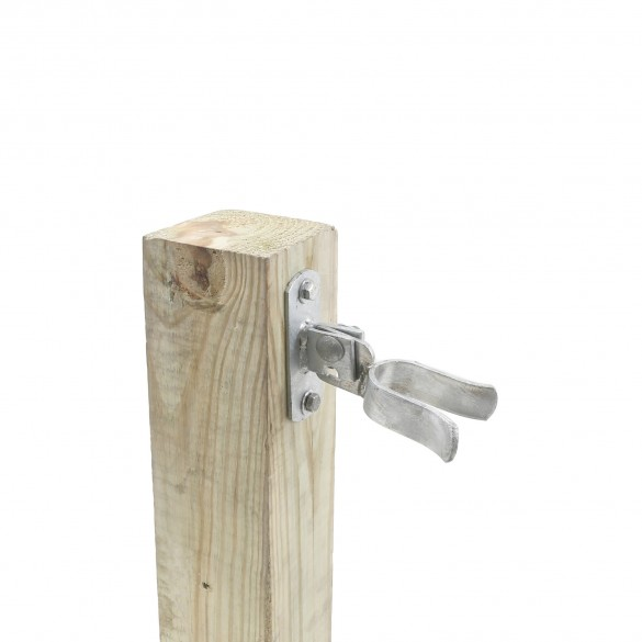 """1 3/8"""" (1 3/8"""" OD) Chain Link Wall Mount Drop Fork Latch Kit Galvanized Pressed Steel (Installation Shown As Example)"""