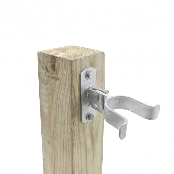 "2"" (1 7/8"" OD) Chain Link Wall Mount Drop Fork Latch Kit Galvanized Pressed Steel (Installation Shown As Example)"