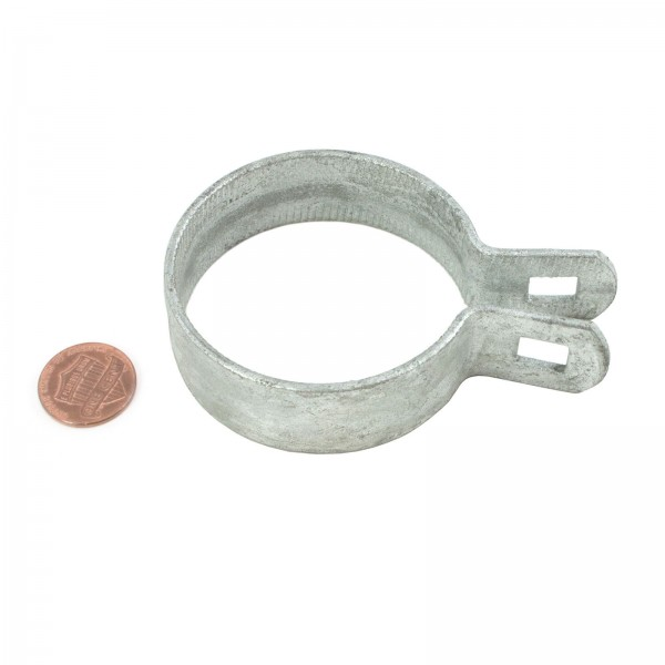 """2 1/2"""" Beveled Brace Band Galvanized Steel (Fits 2 3/8"""" OD) - Penny Shown For Scale"""