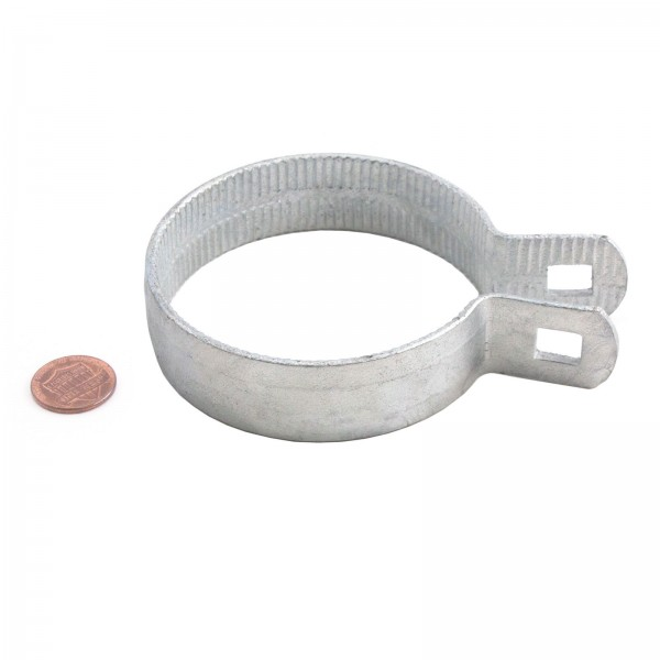 """3"""" Beveled Brace Band Galvanized Steel (Fits 2 7/8"""" OD) - Penny Shown For Scale"""
