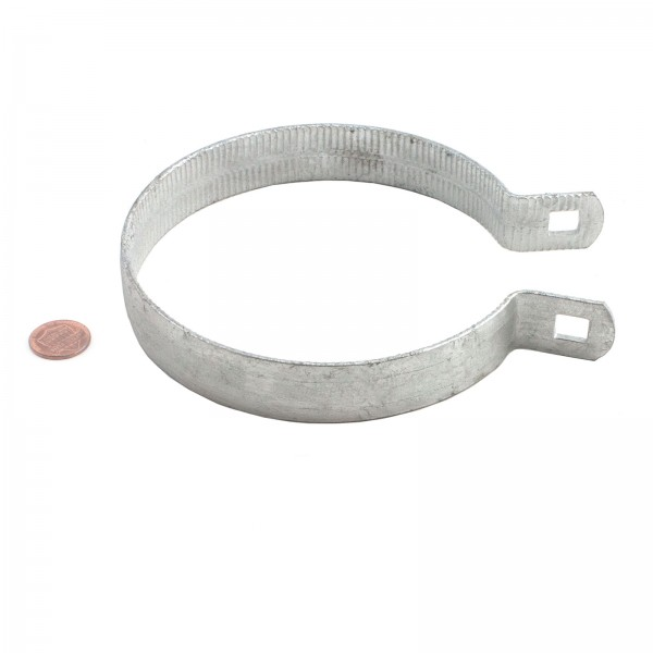 """4 1/2"""" Beveled Brace Band Galvanized Steel - Penny Shown For Scale"""