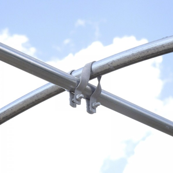 "1 5/8"" x 1 5/8"" Cross-Connector (Purlin Bracket) for Greenhouses - Galvanized Steel (Installation Shown As Example)"